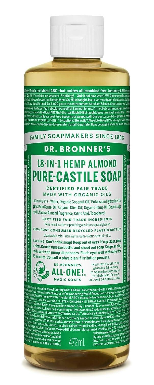 Dr. Bronner's Magic Soaps, Savon pur de Castille 18-en-1 , de chanvre d'amande, 16 fl oz (472 ml)