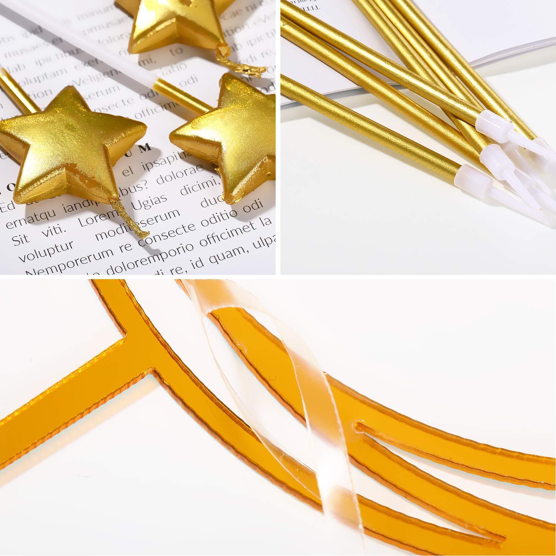 4 Velas de Estrellas Doradas para Adultos Cumplea/ñosBodas Aniversario Mudder Juego de Celebraci/ón de Feliz Cumplea/ños Adorno para Pasteles de Acr/ílico 24 Velas de Cumplea/ños Largas Doradas