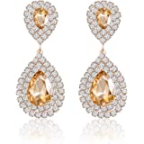 Miraculous Garden Womens Crystal Rhinestone Wedding Hypoallergenic Drop Earrings for Mother's Day Silver Gold Rose Gold Plated