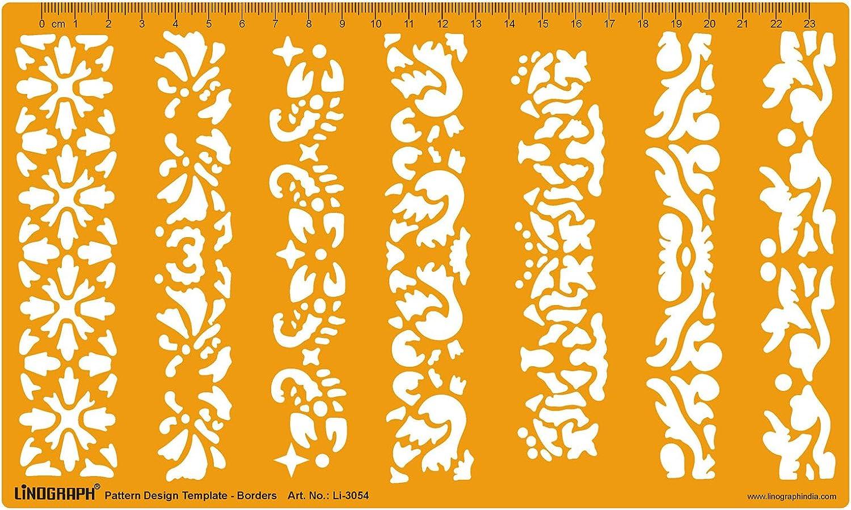 Linograph geom/étrico formas de dibujo redacci/ón escuela y oficina plantilla stencil color naranja