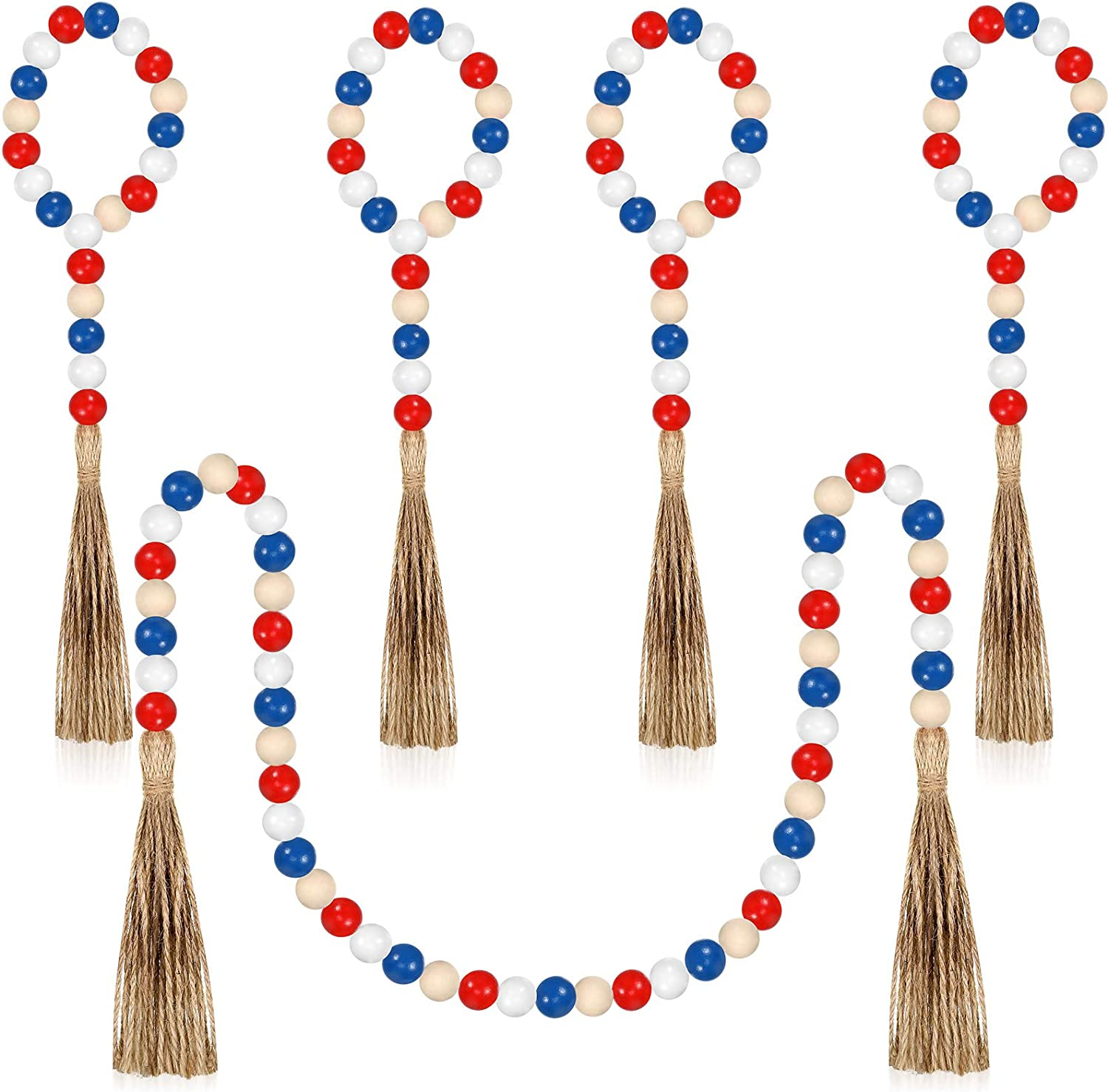 Set of 5 Independence Day Wood Bead Garland Patriotic 4th of July Wood Bead Garland Tassel Farmhouse Beads Rustic Country Decor Prayer Home Wall Hanging Beads (Red White Blue,100 cm/ 39 Inches)