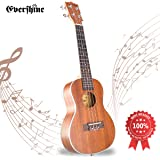 Evershine Mahogany Concert Ukulele for Beginner, 23 Inches Music Soprano Smooth Sounds Ukulele, Four Professional Aquila Strings, Perfect Gift for kids and friends Valentine's Gift for lover