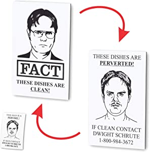 Chillkat Clean Dirty Dishwasher Magnet, Dwight Schrute FACT Pervert, The Office TV Show, and Sticker