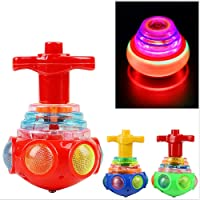 FUNCOCO Glowing Kid's Spinning Toys Colorful UFO Flash Space Top Light LED Gyro Music Gyroscope, Random