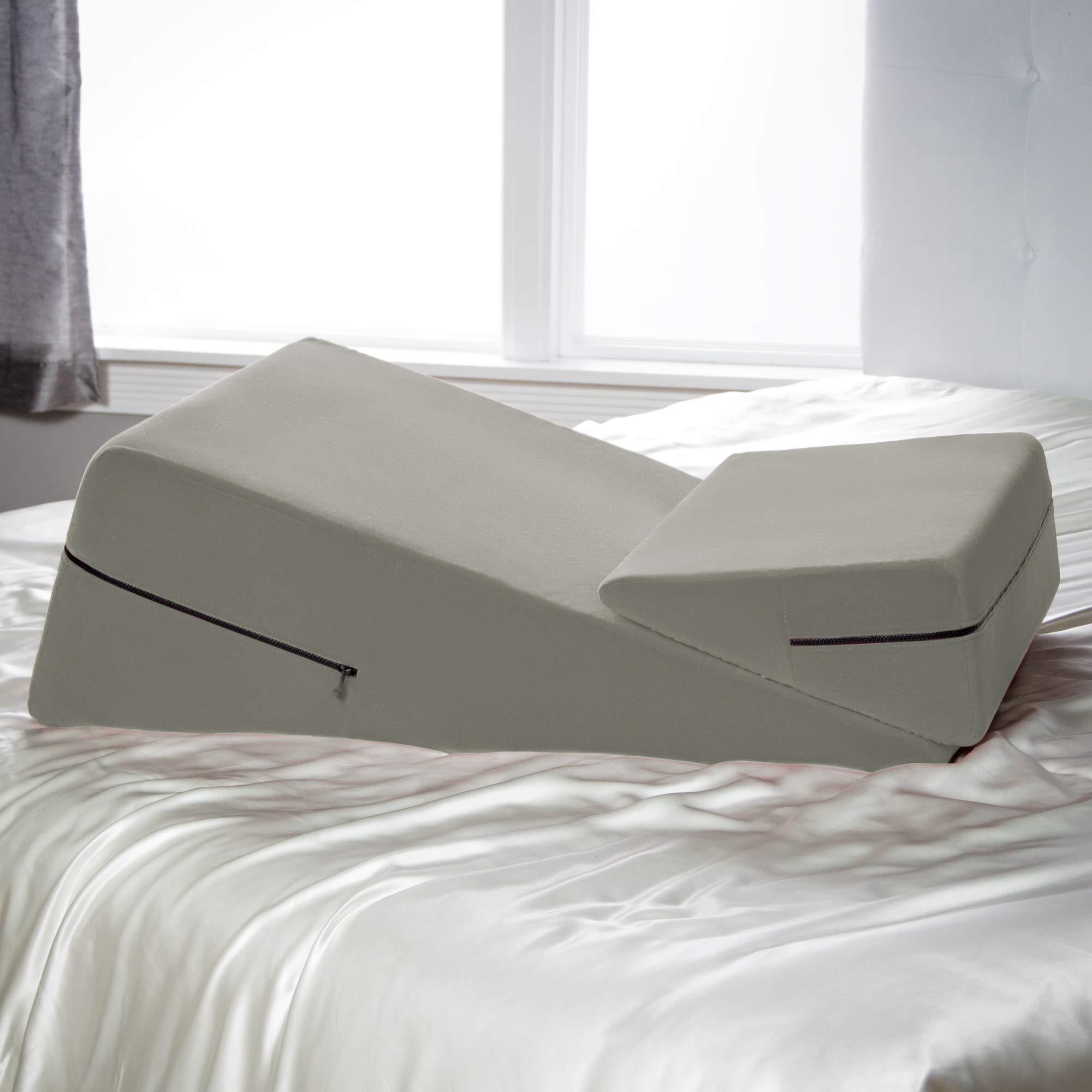 Avana Micro-Velvet Slant Combo 12'' & 7'' Height - Firm Density Bed Wedge Set for Back and Knee Support by Avana