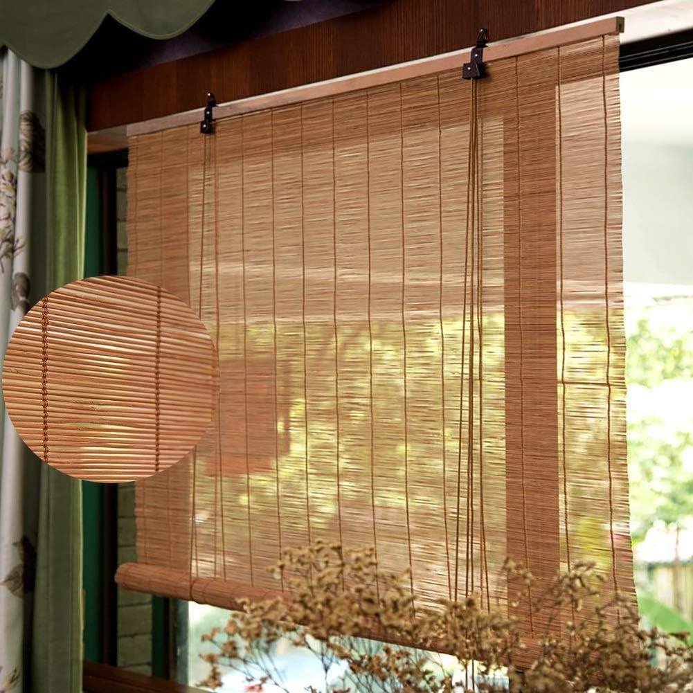 Persianas enrollables Estores Exterior/Superior Patio de Puerta Pergola Carport, 60% de Filtrado de Luz Bambú Enrollar Persianas con Ganchos, 90cm / 110cm / 130cm / 150cm d: Amazon.es: Hogar