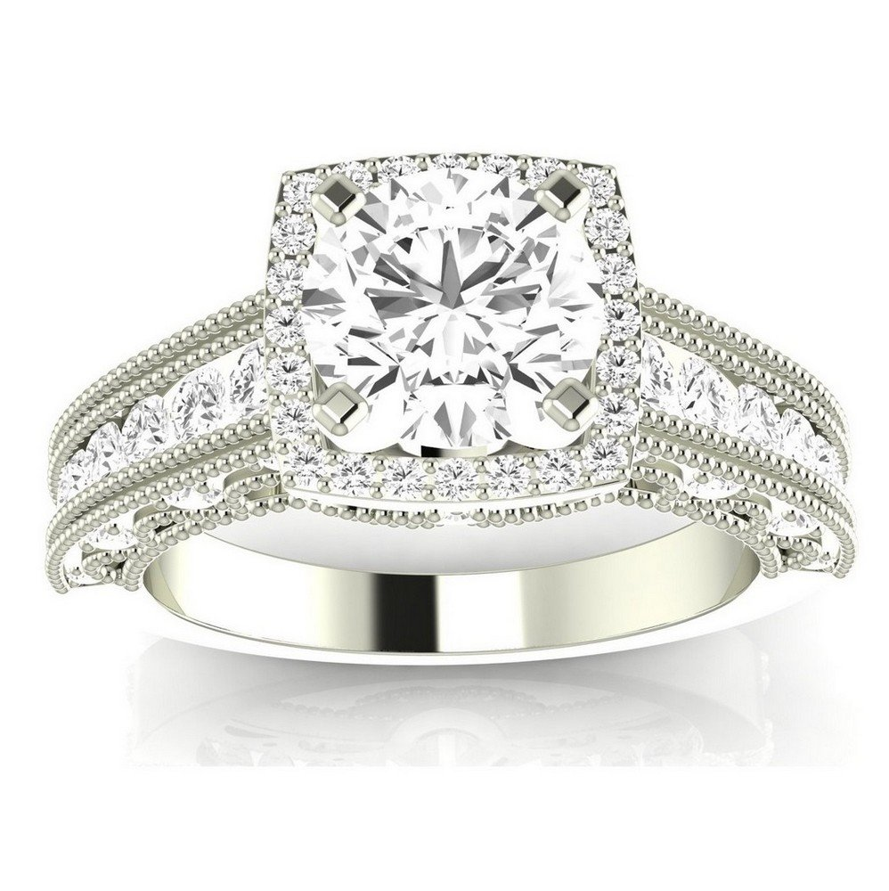 1.25 Ctw 14K White Gold GIA Certified Round Cut Vintage Halo Style Channel Set Round Brilliant Diamond Engagement Ring Milgrain, 0.5 Ct G-H SI1-SI2 Center
