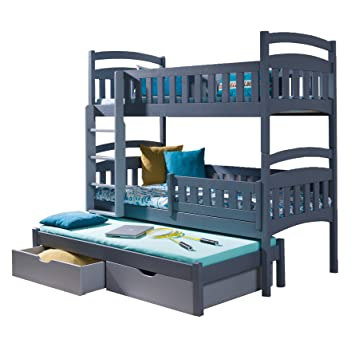 Ye Perfect Choice Triple Bunk Bed Dominic 3 Modern High Bed Drawers