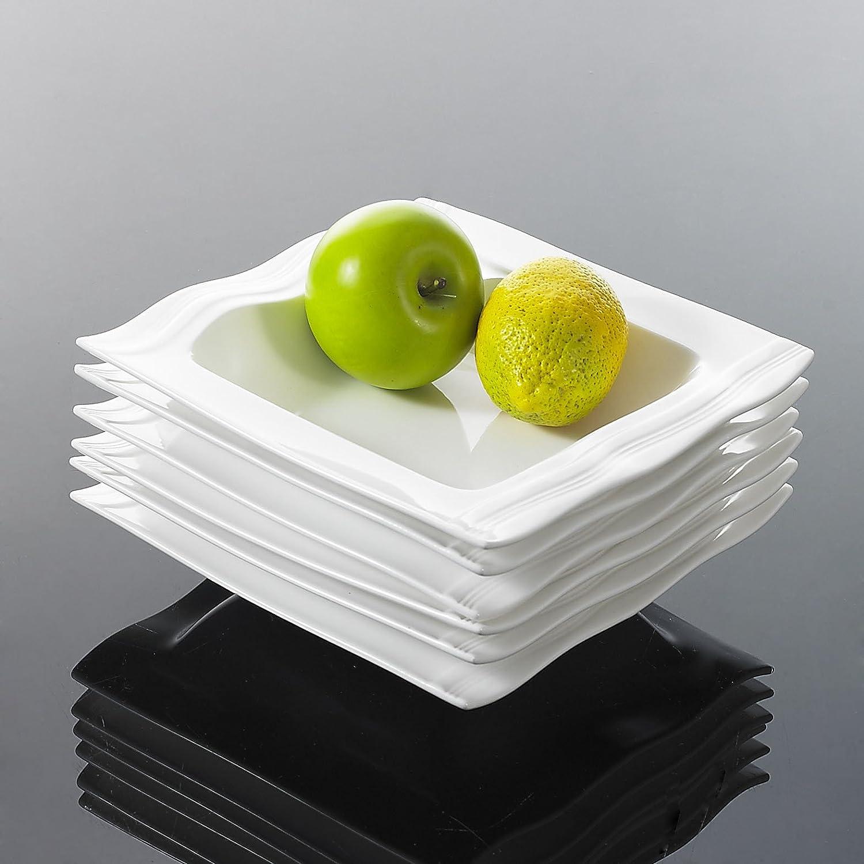 Series Mario Malacasa 56-Piece White Porcelain China Dinner Set with 12 Bowls 12 Dessert Plates 12 Soup Plates 12 Dinner Plates Two Pair Salt Shaker Set 4-Piece Rectangular Plates for 12