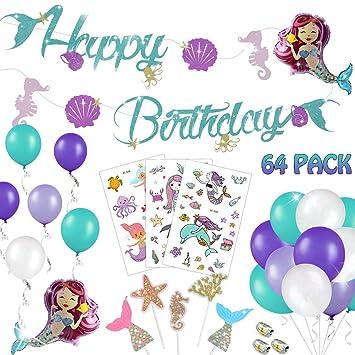64 Piezas Sirena Decoraciones Cumpleaños para Niñas - Brillo ...