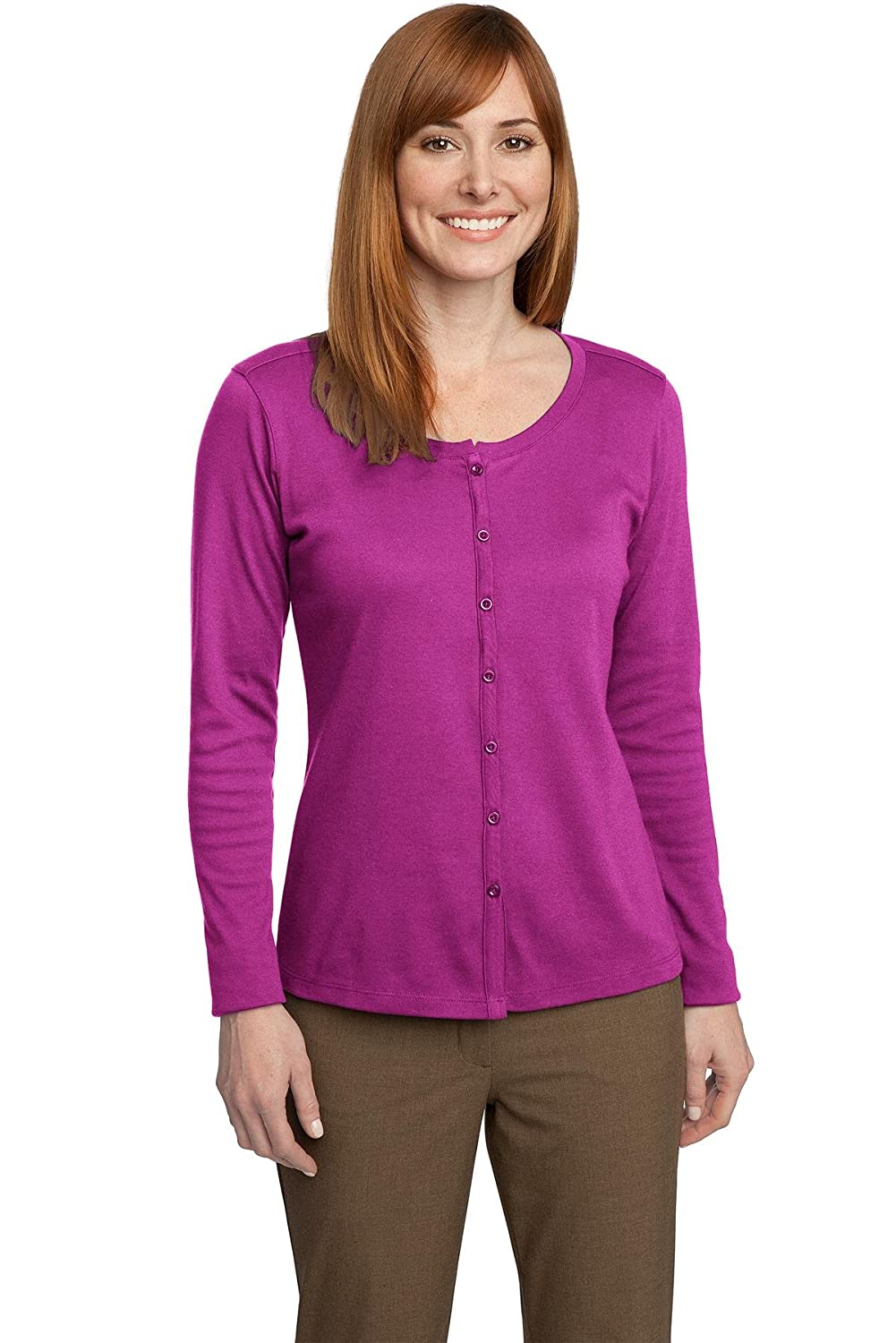 Port Authority Women's Silk Touch Interlock Cardigan at Amazon ...