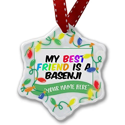 personalized name christmas ornament my best friend a basenji dog from congo neonblond
