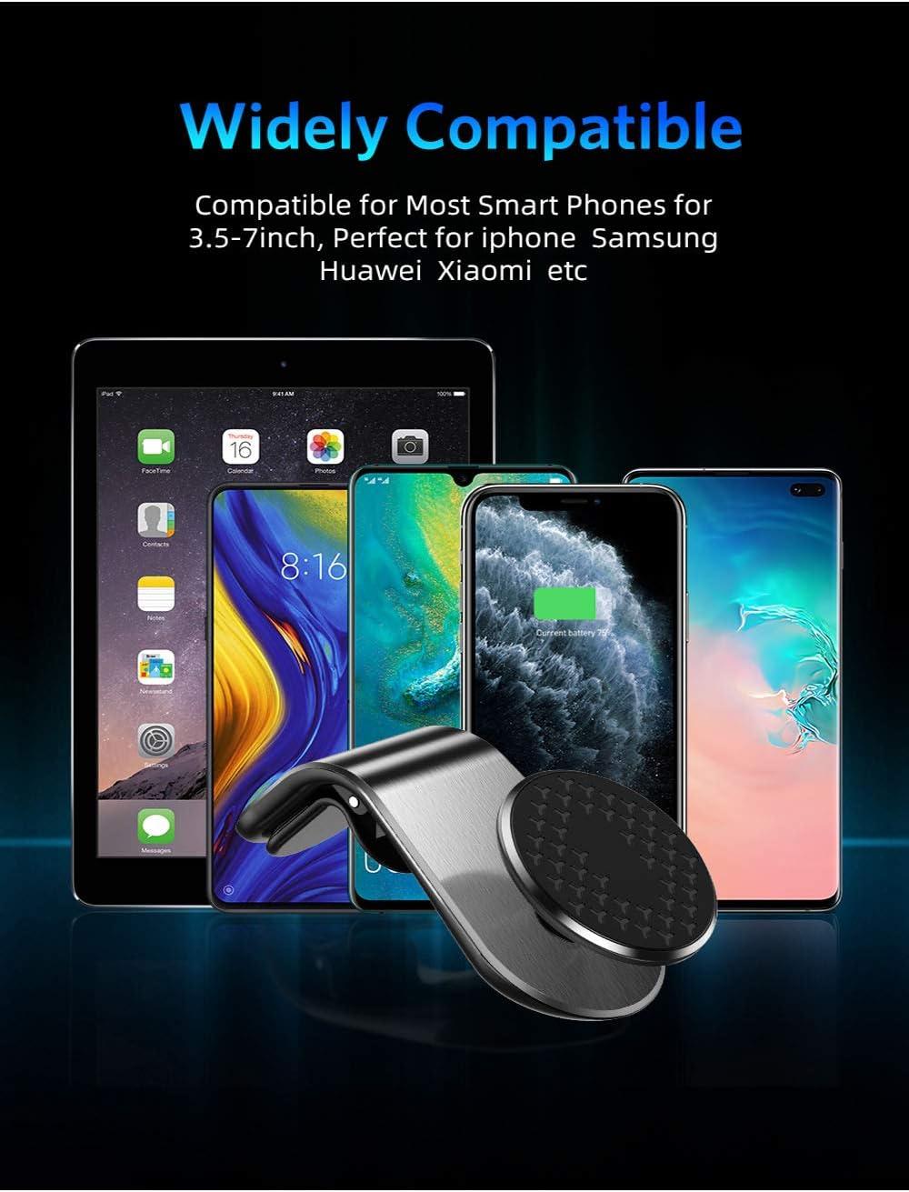 Smartphone Plateado Jahubo Soporte M/óvil Coche Magn/ético Universal 360/° para Rejillas Aire Coche Iman para iPhone XS//XS MAX//XR//X 8//8 Dispositivo GPS y Etc,Mini Im/án M/óvil Coche Xiaomi