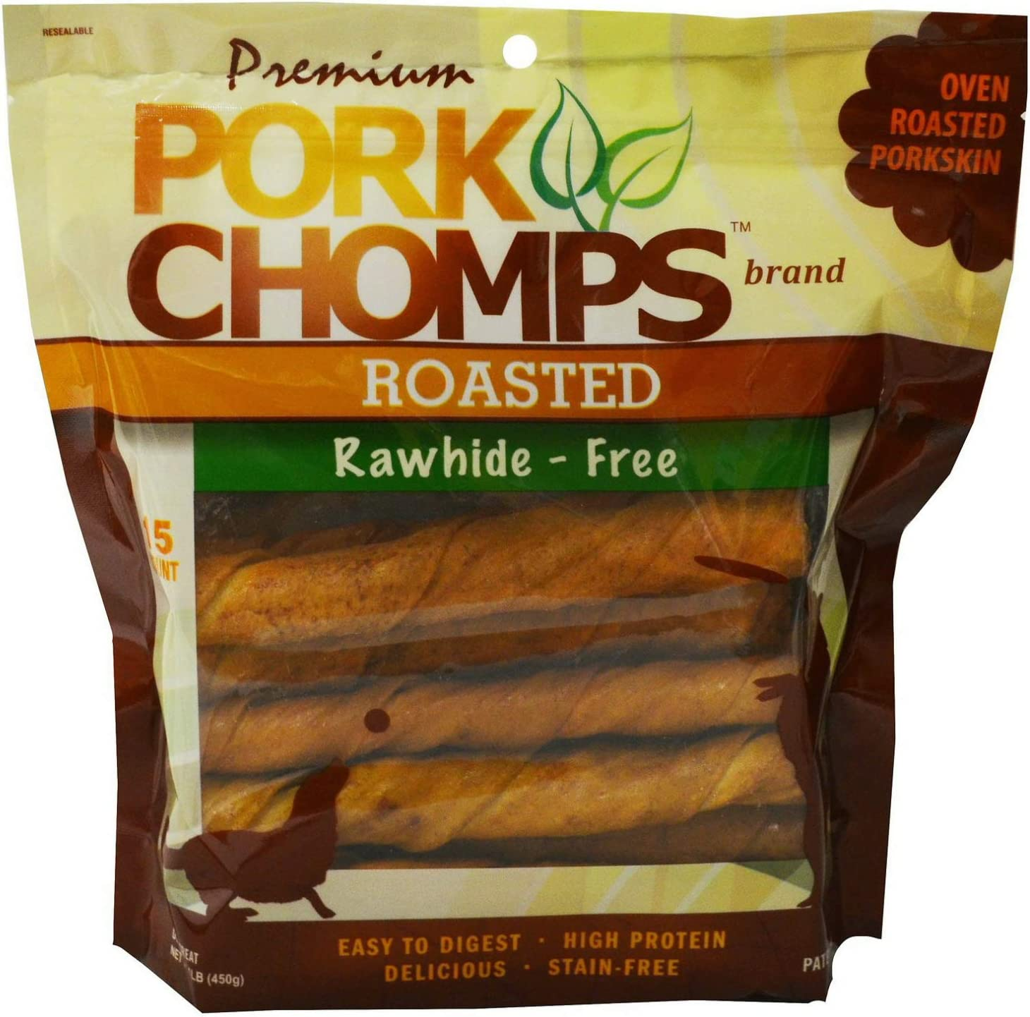 Premium Pork Chomps Roasted Twistz Pork, Large 90ct 6 x 15ct