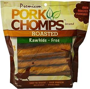 Premium Pork Chomps Roasted Twistz Pork Dog Treats, Large, 15 Count, 6 Pack