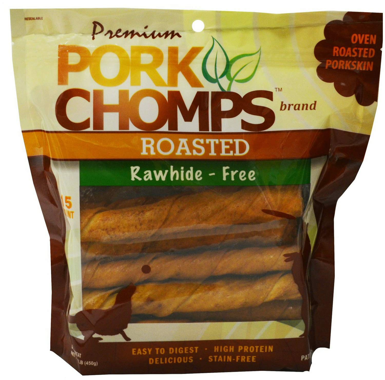 Premium Pork Chomps Roasted Twistz Pork, Large 90ct (6 x 15ct) by Premium Pork Chomps
