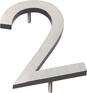 """product image for Montague Metal Products MHN-6-F-BK2-2 Solid Brushed Aluminum Modern Floating Address House Numbers, 6"""", Satin Nickel Powder Coated Black Two-Tone"""