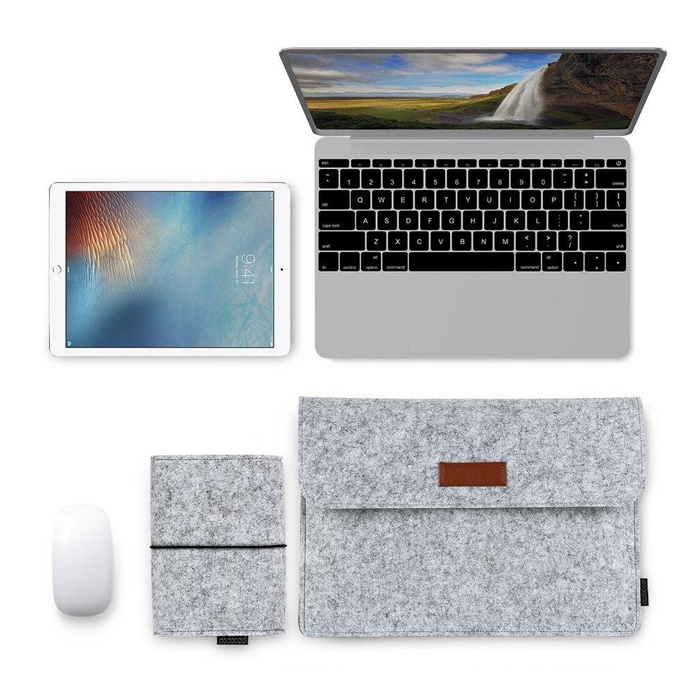 dodocool 13.3-Inch Appleのラップトップ保護スリーブ タブレットMacBook 保護スリーブ 四重 マウス/パワーパック グレー (13.3インチ)