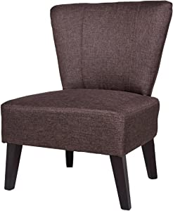 US Pride Furniture Alice Solid Color Fabric Accent Chair, Brown