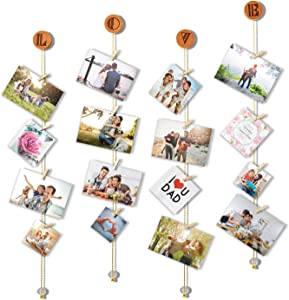 Olakee Hanging Photo Display Picture Frame Collage Picture Display Organizer with 30 Wood Clips for Wall Decor Hanging Photos Prints and Artwork