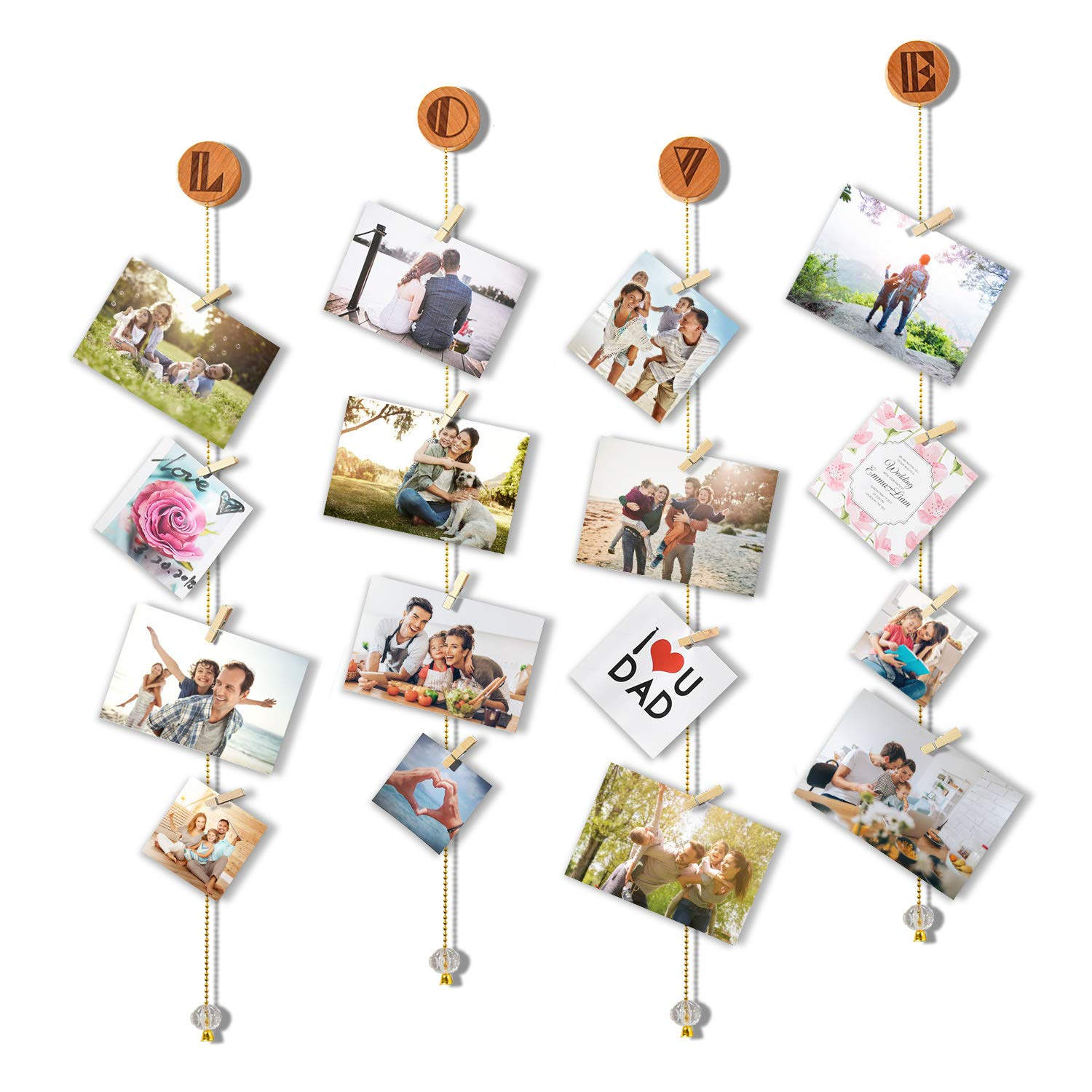 Olakee Love Hanging Photo Display Picture Frame Collage Picture Display Organizer with 20 Wood Clips for Wall Decor Hanging Photos Prints and Artwork by Olakee