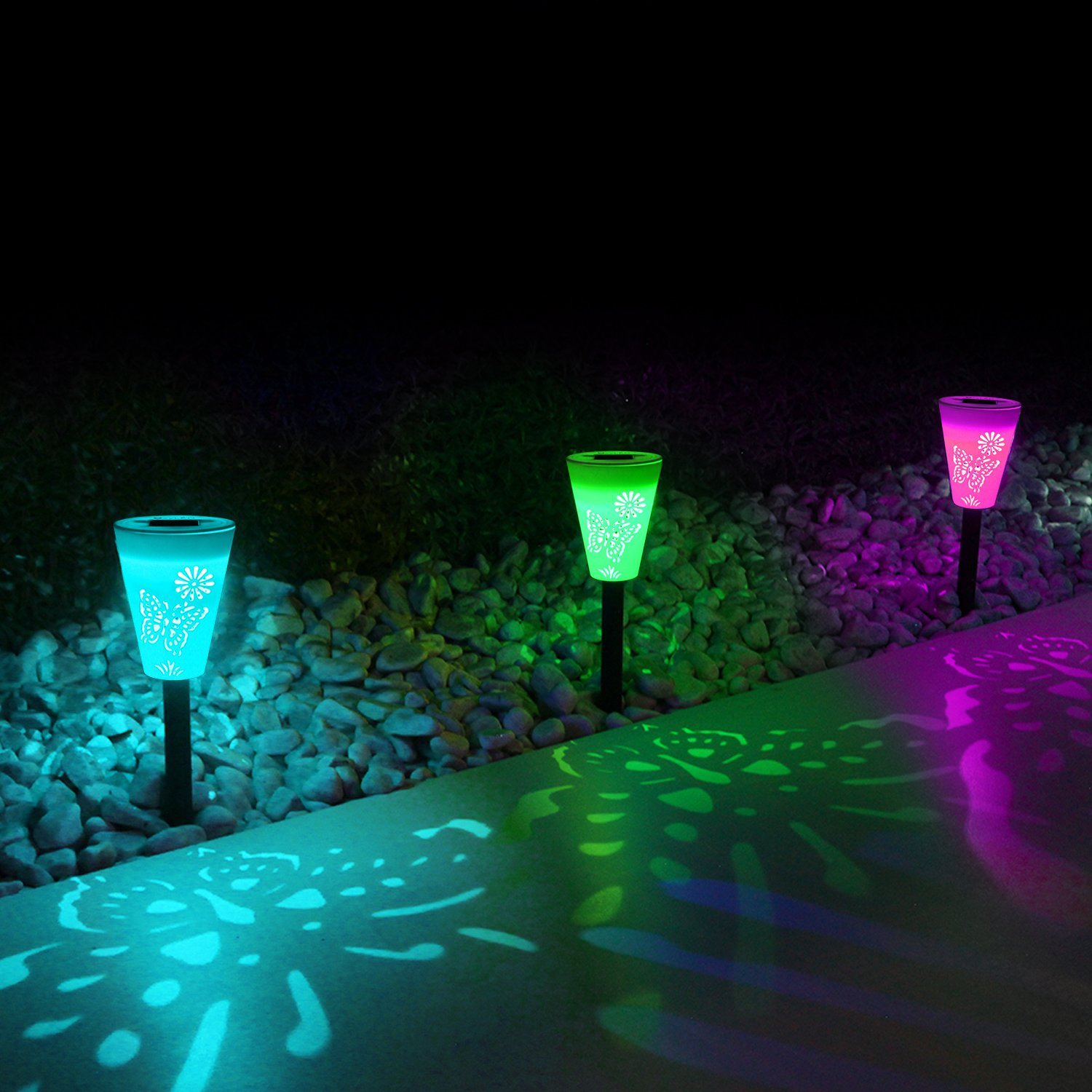 OxyLED Solar Path Light, Hollowed Butterfly Pattern Solar Garden Lights, LED Path Lighting Low Voltage, Waterproof Color Changing Pathway Solar Lights for Outdoor Lawn/Yard/ Walkway (3 Pack) by OxyLED