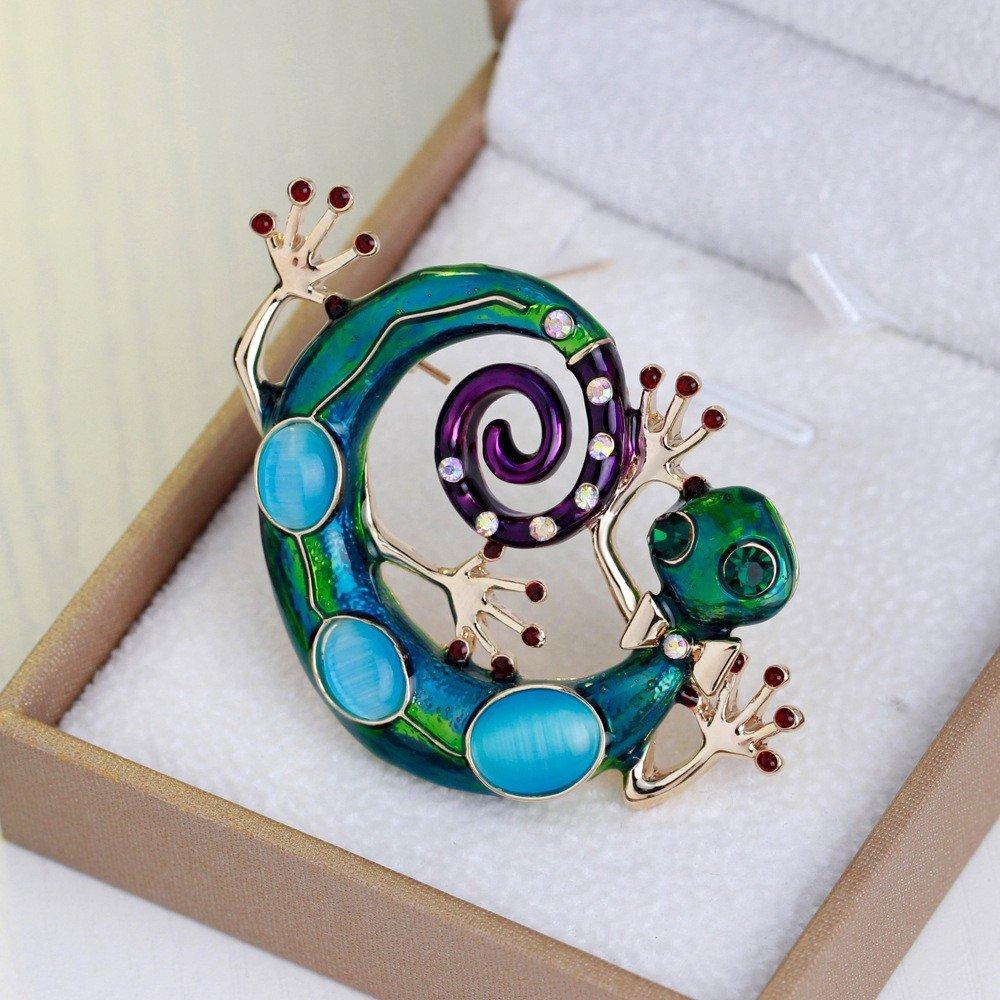 TOOGOO Enamel Lizard Brooches For Women Fashion Green Rhinestone Brooch Pins Gecko Animal Jewelry