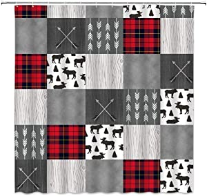 Plaid Shower Curtain, Wildlife Animal Moose with Black and Red Woodland Vintage Farnhouse Rustic Patch Plaid Bathroom Decor, Bathroom Accessories Set, Fabric Shower Curtain with Hooks,70x70 Inchs