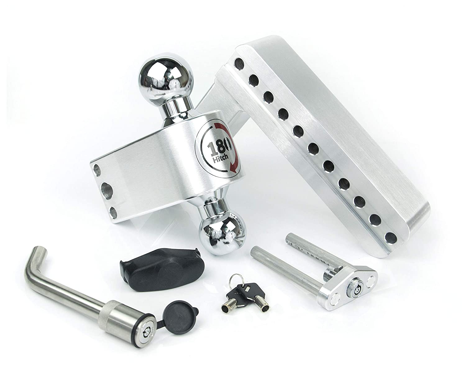 Stainless Steel Combo Ball Keyed Alike Key Lock and Hitch Pin Weigh Safe LTB8-2-KA 8 Drop 180 Hitch w// 2 Shank//Shaft /Adjustable Aluminum Trailer Hitch /& Ball Mount 2 /& 2-5//16