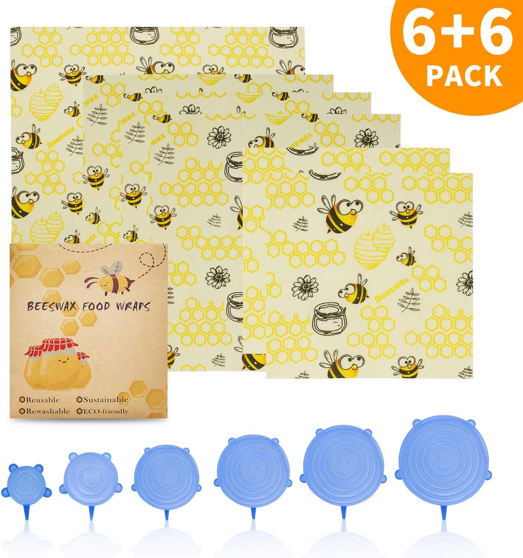 Envoltorio de cera de abeja (6 unidades) + tapas de silicona (6 tamaños), envolturas de cera para alimentos reutilizables, respetuosas con el medio ambiente, sostenibles, sin residuos, cubierta para alimentos para mantener