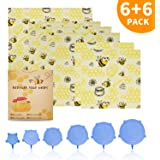 Beeswax Wrap(6 pack)+ Silicone Lids(6 size), Wax Wraps For Food Reusable, Eco Friendly, Sustainable, Zero Waste, cover for Food to Keep Fresh - 2 Small, 3 Medium, 1 Large Bees Wrap
