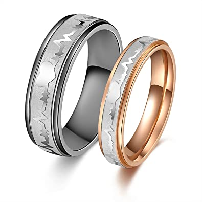 his or hers matching set heart beat chart titanium couple wedding band ring - His And Hers Matching Wedding Rings