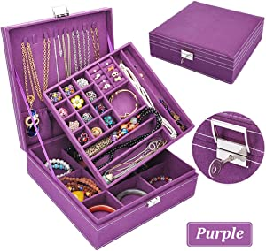 Jewelry Box for Women, QBeel Double Layer 36 Compartments Necklace Jewelry Organizer with Lock Jewelry Holder for Earrings Bracelets Rings - Purple