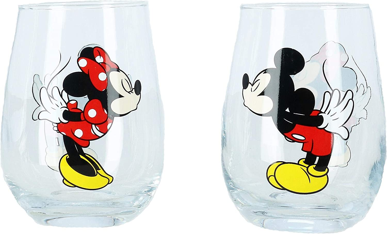 Disney Kissing Mickey y Minnie Mouse Juego de 2 vasos sin tallo para parejas
