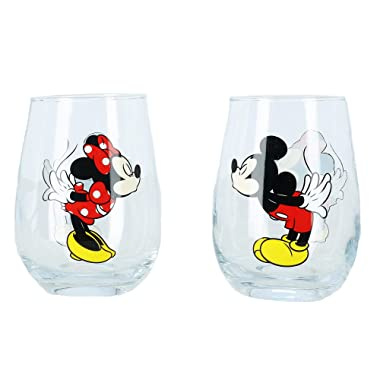Disney Kissing Mickey and Minnie Mouse Couples Stemless Glasses, Set of 2