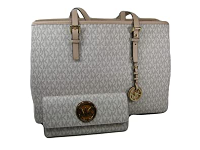 0a512157a0 Image Unavailable. Image not available for. Color  New Michael Kors MK Logo  Purse Satchel Bag ...