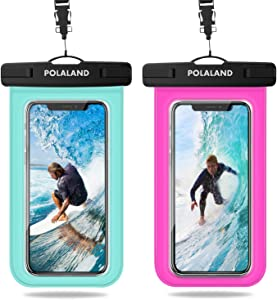 "Polaland Waterproof Phone Pouch, Universal Cell Phone Dry Bag Underwater Case for iPhone 12/11 Pro/Xs Max/SE XR X 8 Plus 7 6S, Galaxy S20+ / S10+ / Note 10+ up to 6.9"" - Green/Pink(2 Pack)"