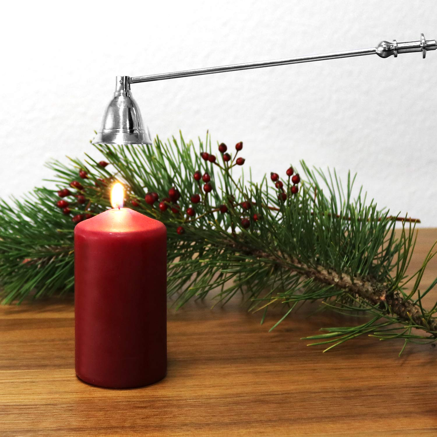 wick extinguishers silver plated 02 - St/ück - silberfarben com-four/® Set of 2 candle extinguishers made of stainless steel length 30 cm