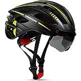 Casco Bicicleta para Hombres y Mujeres, Shinmax Casco de Bicicleta Adultos con Luz de Carga Usb y Gafas Magnéticas Desmontabl