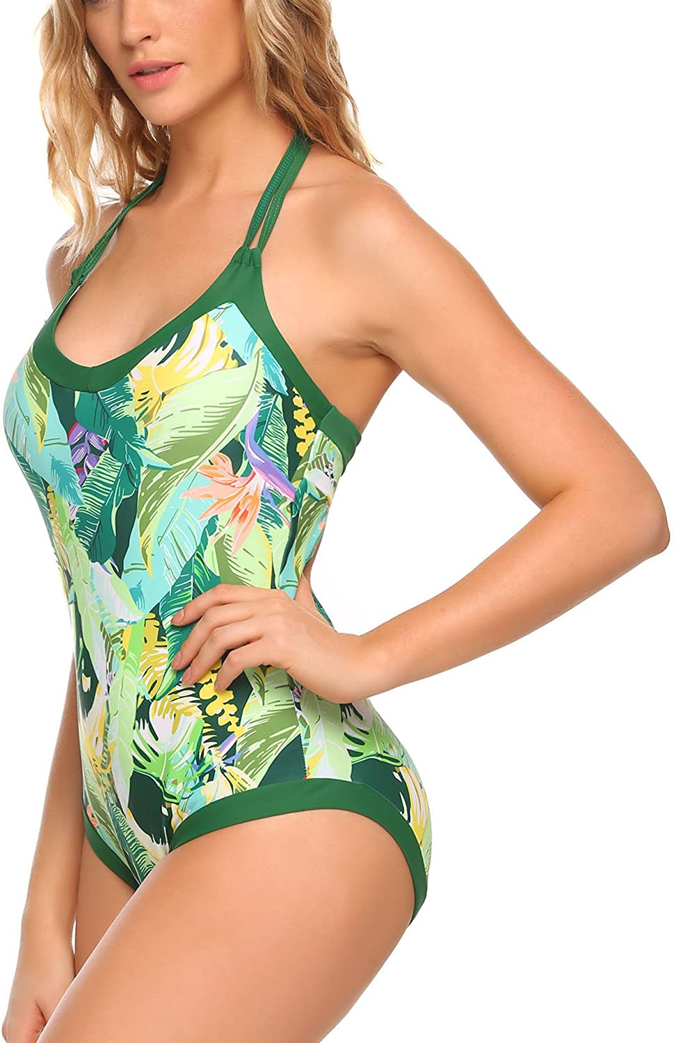 Ekouaer Womens Bathing Suit Halter High Neck Backless Flower Printed One Piece Swimsuit Sexy Swimwear