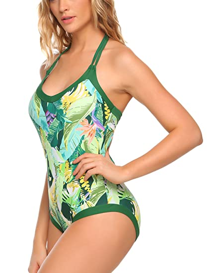 3cb61e86515a Image Unavailable. Image not available for. Color: Ekouaer Womens Bathing  Suit Halter High Neck Backless Flower Printed One Piece ...