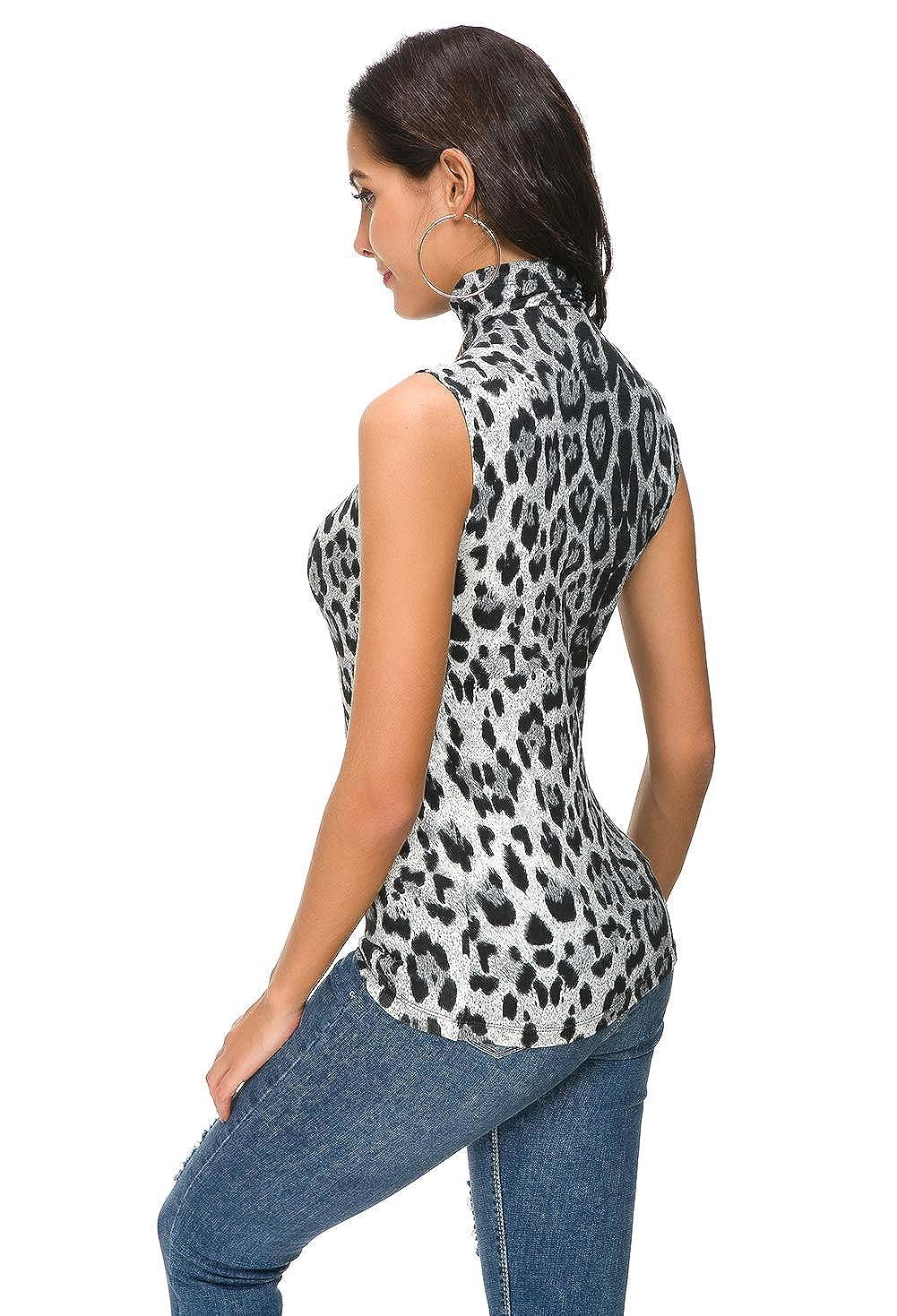 Nasperee Women Sleeveless High Turtleneck//Mock Neck Pullover Slim Fit T Shirt Tank Top