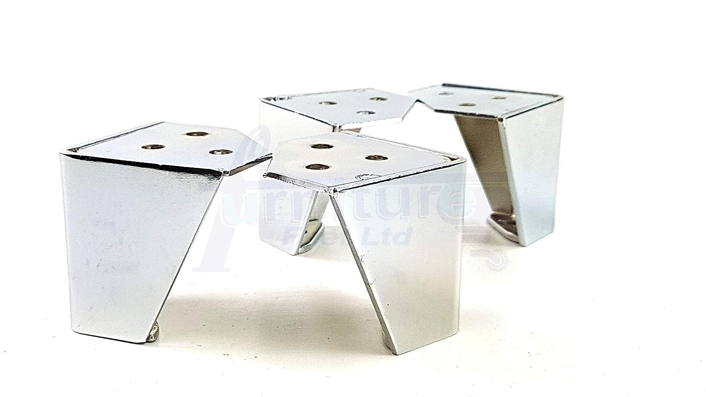 4 x cromado muebles patas metálicas para muebles para sofás ...