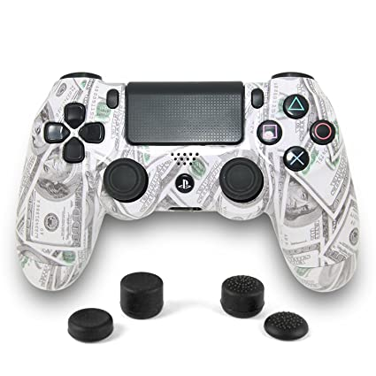 PS4 Dualshock 4 Full Controller with Custom CASH MONEY Print Shell, Bundled  with 4 Custom Thumbstick Covers ( GOLD BAG )