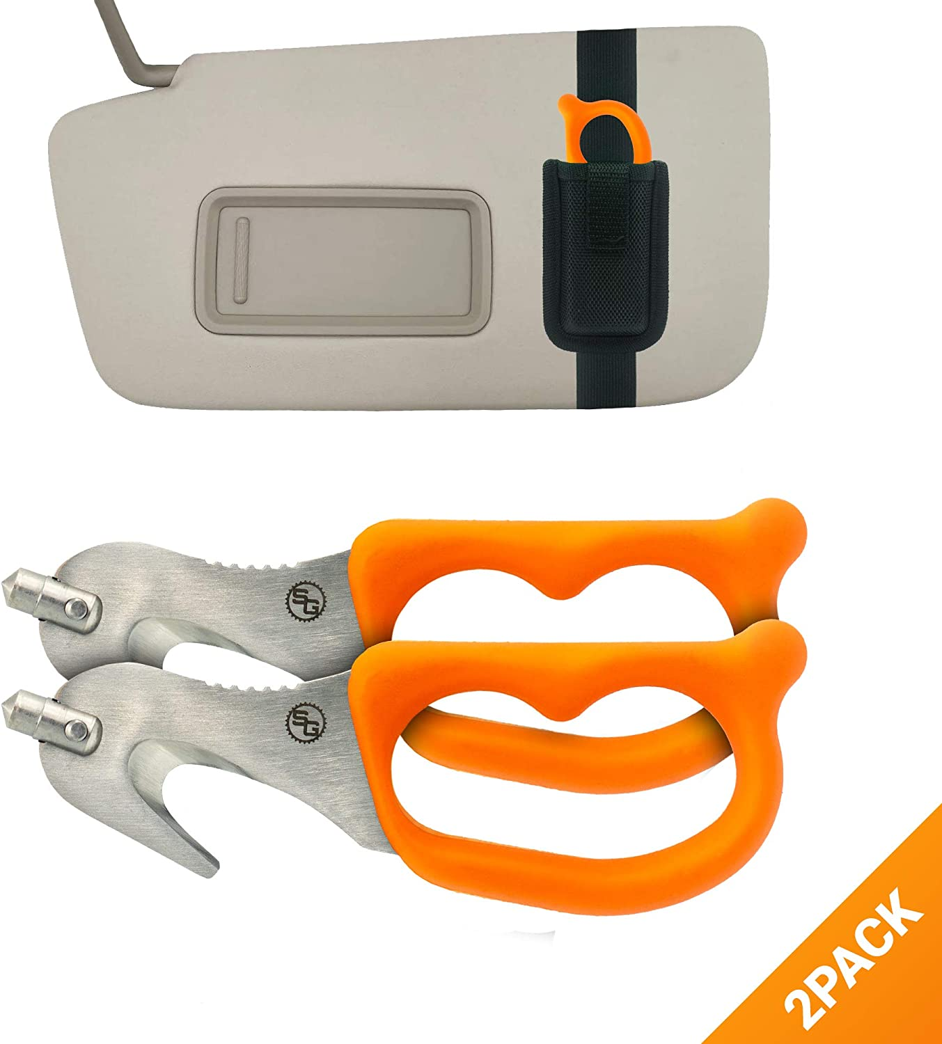 StatGear SuperVizor XT Auto Emergency Rescue Escape Tool - Seatbelt Cutter & Window Glass Breaker Hammer Survival - Mounts Right to Your Sun-Visor! Pack of 2: Automotive
