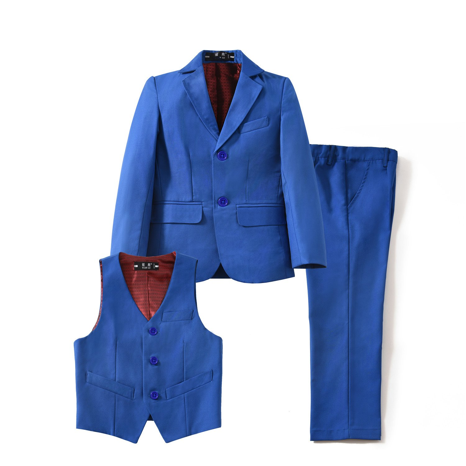 Yuanlu Kids Boys' Suts Set with Blazer Vest and Pants for Wedding Royal Blue Size 7