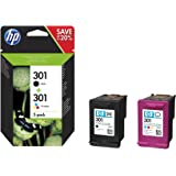 HP 301 - Pack de ahorro de 2 cartuchos de tinta Original HP 301 Negro, Tricolor para HP DeskJet, HP OfficeJet y HP ENVY