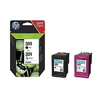 HP 301 pack de 2 cartouches d'encre noire/trois couleurs authentiques (N9J72AE)