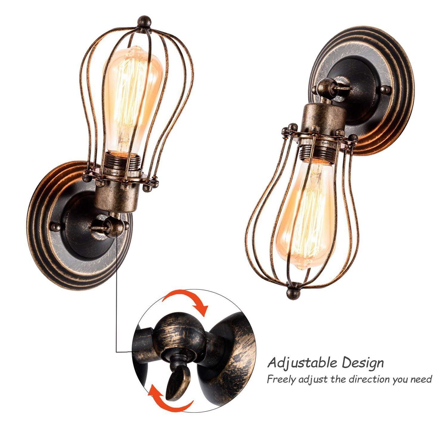 Single Head Vintage Wall Sconce Industrial Wire Cage Wall Sconce Loft Antique Wall Lights for Headboard Bedroom Farmhouse Barn Garage Porch