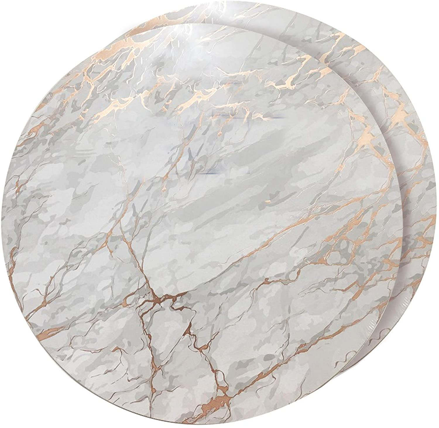 Dainty Home Foiled Granite Thick Cork Heat Resistant Dining Table Placemats Set Of 2 15 Round Marbled Rose Gold 2mc15rgo Home Kitchen